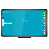 Clevertouch Plus Series touchscreen FRONT ON with pen tray