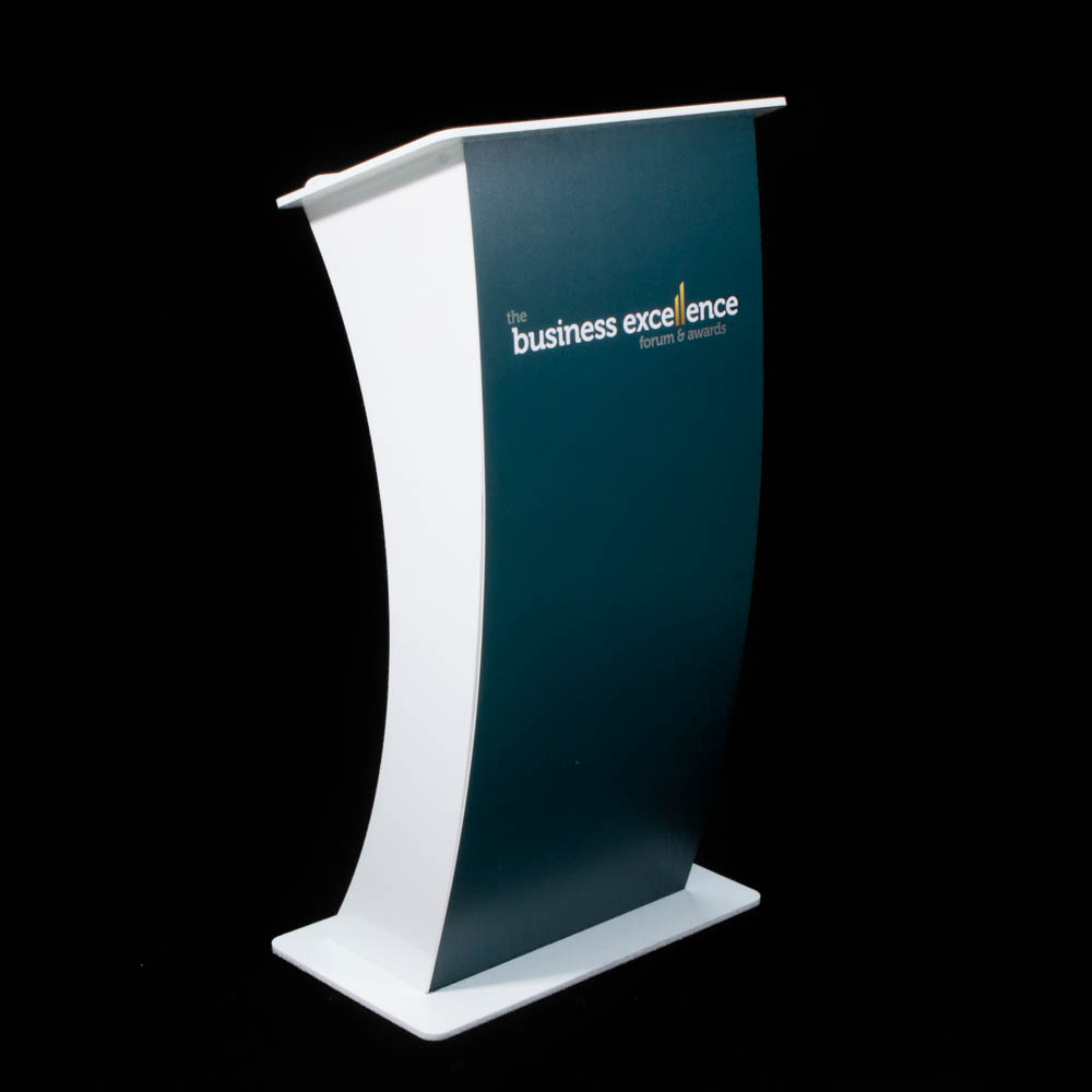 """Lectern - """"Curve"""" white Acrylic - ActionCOACH Business Excellence Forum"""