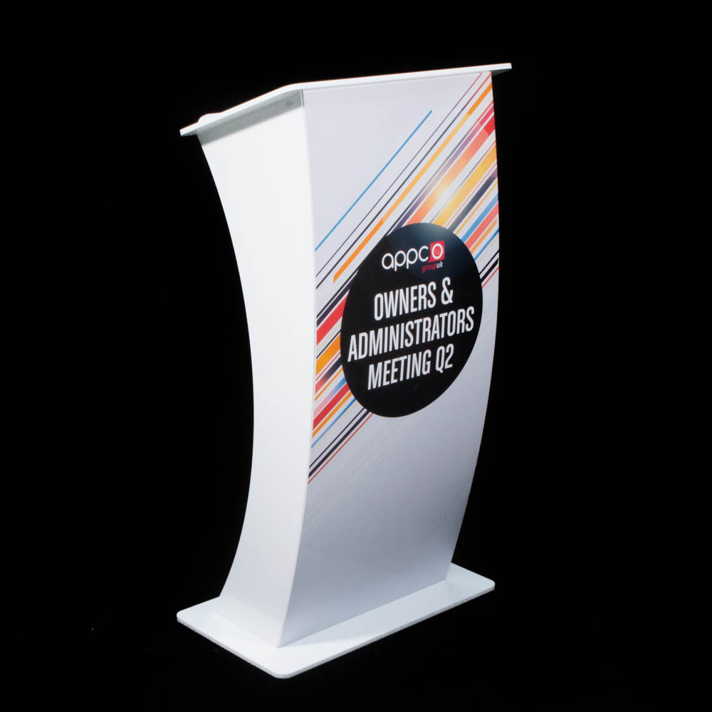 """Lectern - """"Curve"""" white Acrylic - Appco Owners Meeting"""