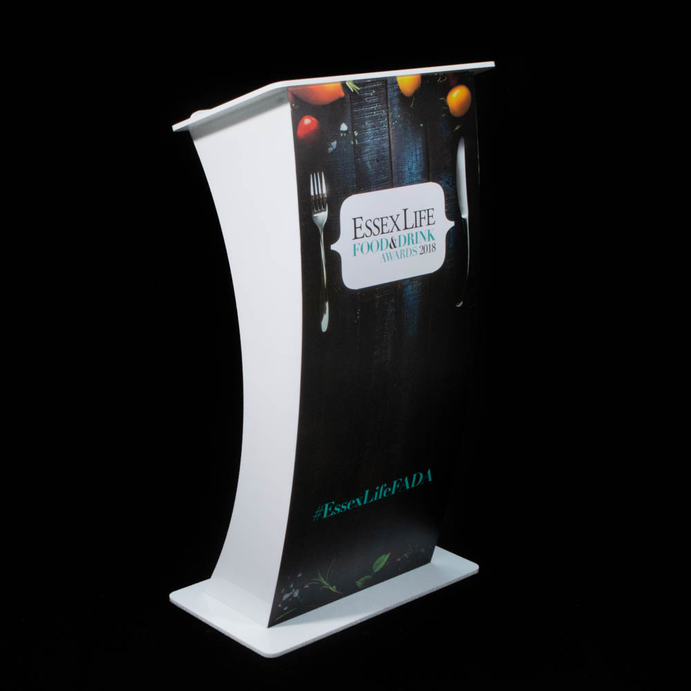 """Lectern - """"Curve"""" white Acrylic - Essex Food & Drink Awards"""