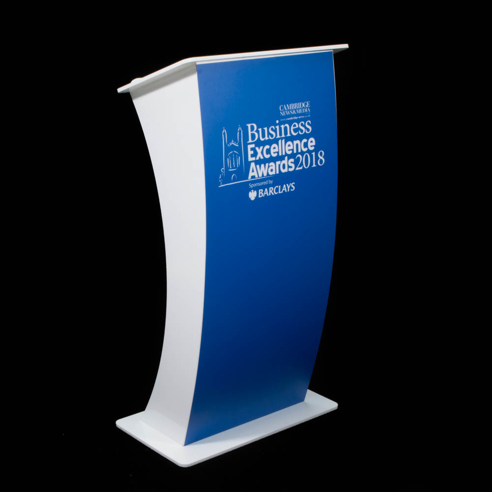 """Lectern - """"Curve"""" white Acrylic - Business Excellence Awards"""